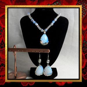 Opalite Gemstone Necklace & Earring Set   #JWL-505